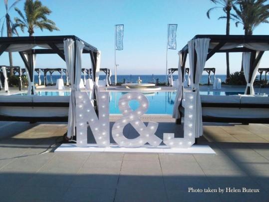 Letras de luces para bodas Marbella, Malaga